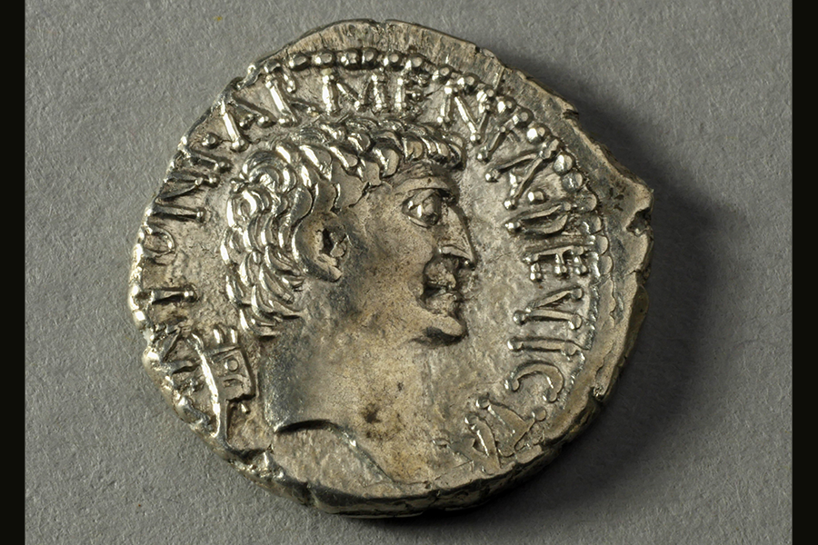 c. Silver denarius with image of Mark Antony