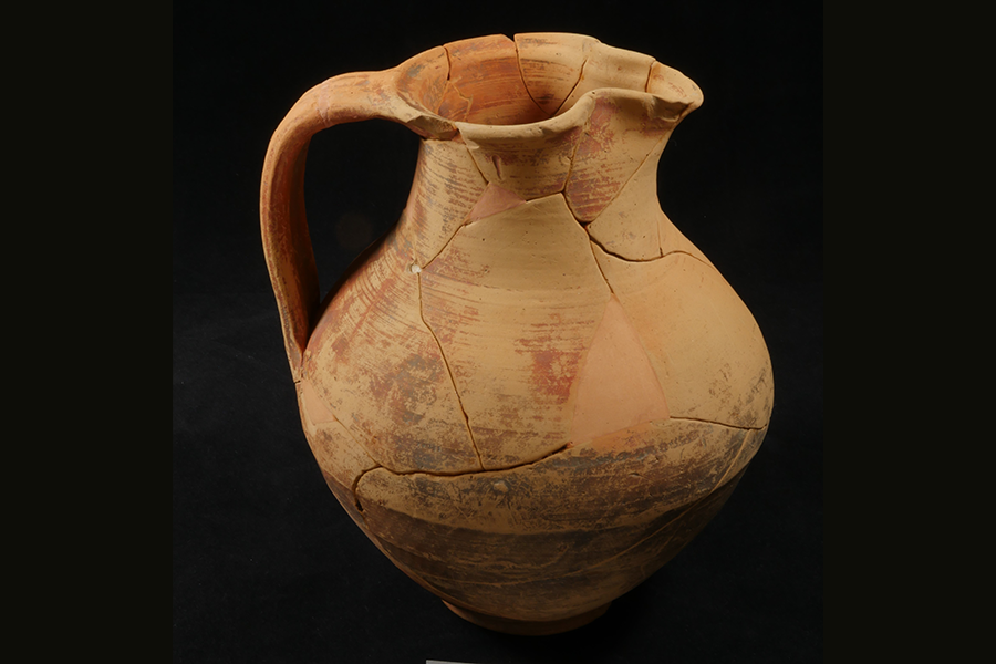 i. Late Roman ceramic pitcher found in the Roman levels of Well # 2. Restored by Studio Arts                               College International (SACI), Florence