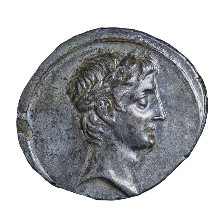 Roman silver denarius with portrait of Octavian (Augustus)