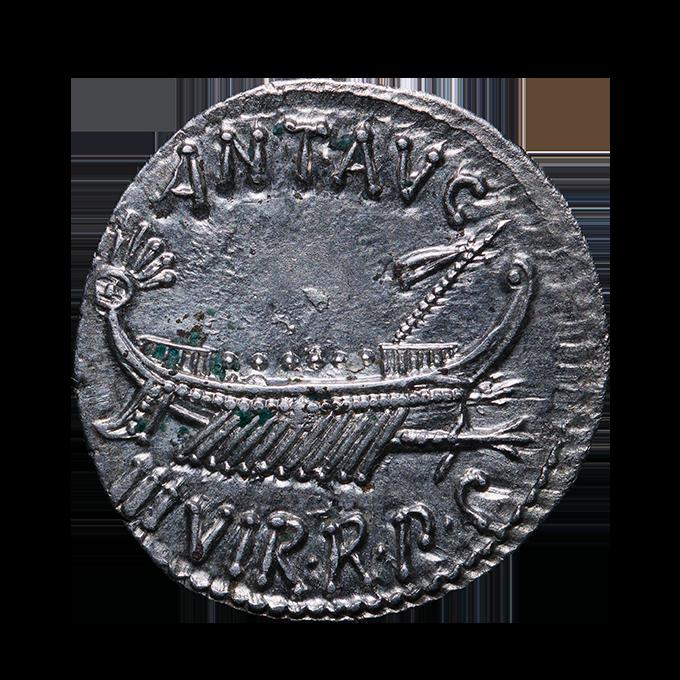 Roman silver denarius with warship of Mark Antony